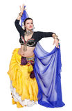 Beautiful exotic belly tribal dancer with blue shawl woman Stock Image