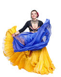 Beautiful exotic belly tribal dancer with blue shawl woman Royalty Free Stock Photos