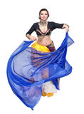 Beautiful exotic belly tribal dancer with blue shawl woman Stock Photos