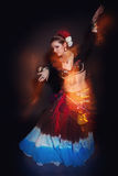 Beautiful exotic belly tribal dancer woman Royalty Free Stock Photo