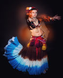 Beautiful exotic belly tribal dancer woman Royalty Free Stock Photography