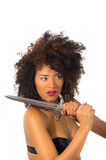 Beautiful exotic young tribal woman holding a Royalty Free Stock Photos