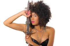 Beautiful exotic young tribal woman holding a Stock Photography