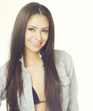 Beautiful exotic young woman long hair Stock Images