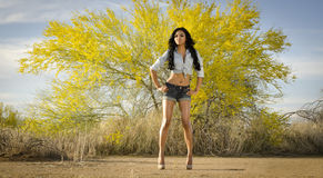 Beautiful exotic young woman long hair. Beautiful exotic young woman wearing denim jean shorts and top - posing in Arizona desert, USA Royalty Free Stock Photography