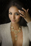 Beautiful exotic young woman necklace Royalty Free Stock Image
