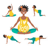 Beautiful expectant mother is doing yoga. Set of Yoga poses for Pregnant black women. Prenatal exercise. Vector illustration Royalty Free Stock Photos