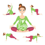 Beautiful expectant mother is doing yoga. Set of Yoga poses for Pregnant women. Prenatal exercise. Vector illustration Stock Photo