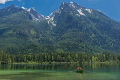 Beautiful exploration tour along the Berchtesgaden Alpine foothills. - Hintersee. stock photo