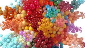 Beautiful Explosion of Multicolored Bubbles on a White Background. 3d Animation Ultra HD 4K 3840x2160