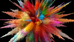 Beautiful Explosion of Multicolored Particles on a Black Background. 3d Animation Ultra HD 4K 3840x2160