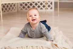 Beautiful expressive adorable happy cute laughing smiling baby infant face.  Stock Photo