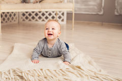 Beautiful expressive adorable happy cute laughing smiling baby infant face.  Royalty Free Stock Photography