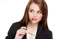 Beautiful expressive businesswoman. Royalty Free Stock Photography