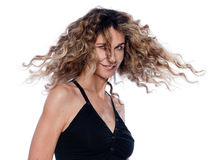 Beautiful expressive curly hair Woman Stock Images