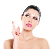 Beautiful expressive woman cares of the skin face royalty free stock photos