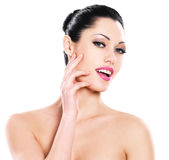 Beautiful expressive woman cares of the skin face Royalty Free Stock Photo