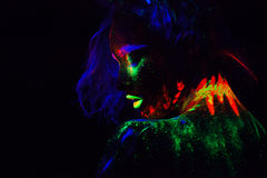Beautiful extraterrestrial model woman with blue heair and green lips in neon light. It is portrait of beautiful model Royalty Free Stock Photos
