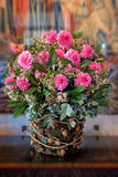 Beautiful extravagant vase with a bouquet pink flowers Royalty Free Stock Photos