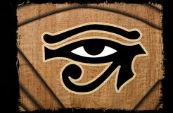 Beautiful Eye of horus vintage on papyrus Stock Image
