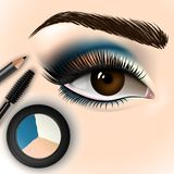Beautiful eye with makeup accessories. Brush, eyeliner and eye shadow. Vector illustration Royalty Free Stock Images
