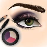 Beautiful eye with makeup accessories. Brush, eyeliner and eye shadow. Vector illustration Royalty Free Stock Photos