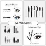 Beautiful eye with makeup accessories. Brushes, combs and mascara. Eye makeup  set Stock Photos