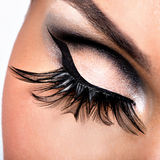 Beautiful Eye Makeup. With long false eyelashes. Holiday visage Stock Photo