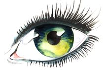 Beautiful eye. Watercolor painting of a beautiful green eye Stock Photography