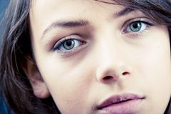 Beautiful Eyes. Facial closeup portrait of a teenage girl with beautiful eyes Stock Images