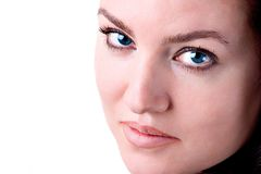 Beautiful Eyes. Portrait of a beautiful brunette woman with blue eyes Royalty Free Stock Photo