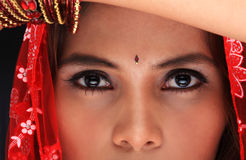 Beautiful eyes. Headshot of a young woman's face in dancing costume Royalty Free Stock Photo