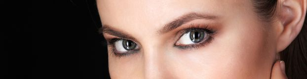 Beautiful eyes of Adult Woman. With Clean Fresh Skin close up view. Beauty Portrait.  Pure Beauty Model Stock Photo