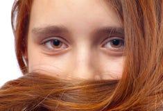 Beautiful eyes and hair of teenage girl Royalty Free Stock Photos