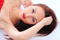 Beautiful eyes and lips stock photos