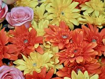 Red and yellow blossoms of fabric flowers stock photos