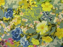 Colorful floral silk fabric texture Stock Image