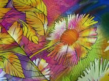 Colorful floral silk fabric texture Royalty Free Stock Photography