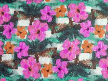 Colorful fabric with flowers Stock Images