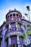 Beautiful facade of modernist building in Xixona. Alicante province, Spain stock images