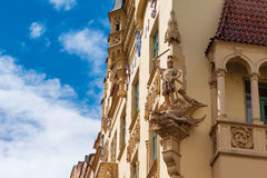 Beautiful facade of old building in Jewish Quarter. Czech Republ Royalty Free Stock Photos