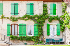 Beautiful facade of an old house Stock Photos