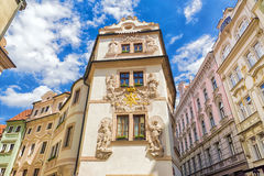 Beautiful facade of old houses in Prague Stock Photo