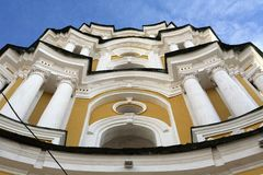 Beautiful facade of ortodox cathedral with columns. Beautiful yellow  facade of ordodox cathedral with white columns  in Chernihiv Royalty Free Stock Image