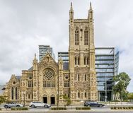 The beautiful facade of St Francis Xavier`s Cathedral, Adelaide, Southern Australia stock photo