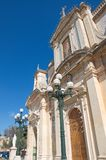 Malta, Rabat: Beautiful St. Paul`s Cathedral. Beautiful facade of the St. Paul`s Cathedral in Rabat, Malta. It was built in Baroque style Royalty Free Stock Photo