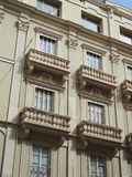 Beautiful balconies of a retro style building royalty free stock photography