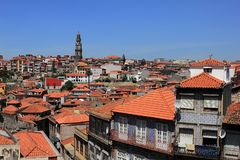 Beautiful facades and roofs of houses in Porto, Portugal royalty free stock image
