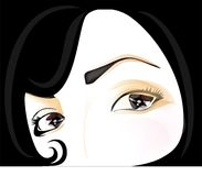 Beautiful face. Black hair, cool fashion, brown eyes Royalty Free Stock Photography