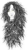 Beautiful face. Beautiful girl, black hair, urban style, blue sky Stock Image